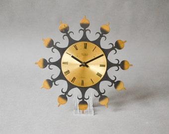 Vintage wall clock, brass wall clock, brass clock, GDR wall clock, Weimar clock, Weimar wall clock 115