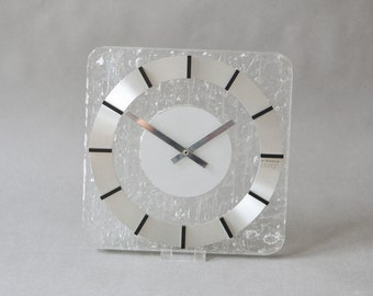 Vintage lucite wall clock, Kienzle wall clock, glass clock, 80s home decor, Kienzle boutique
