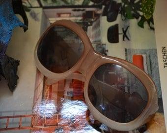 1960s Mod Ombre Sunglasses, Italian Retro Oversized Sunnies, Amber Two Toned Glasses