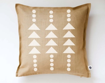 Modern accent pillow cover -mustard pillow with white print - accent pillow -  modern white triangles and polka dots pattern 0377