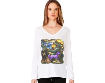 Epic V-neck Long Sleeve T-shirt Women's Fashion Top Graphic Tee