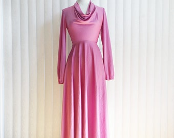 Vintage 70s pink dress/ long sleeve cowl collar rose gown/ long dress/ 70s maxi prom dress/ cowl collar gown