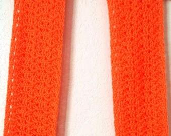 Crochet Lacy Scarf Neon Orange