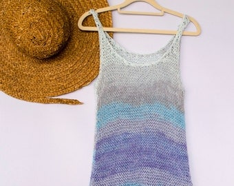 Hand Knit Beach Cover Up in Blue Shades, Knit Dress, Sweater Dress, Boho Beach Dress, Cover Up Dress, Festival Dress