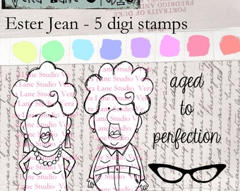Ester Jean - quirky and whimsical senior citizen woman digi stamp set