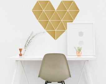 Geometric Heart - Vinyl Wall Art Decal Custom Stickers For Teens Rooms, Laptops, Cars, Offices, Bedrooms
