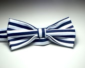 Kids Bow Tie Navy Blue With White Striped Bow Nautical Adjustable Bow Pre-tied With Similar Neck Strap Children's Accessory Gift For Kids