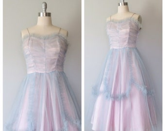 50s party dress size large / 50s tulle dress / 50s prom dress
