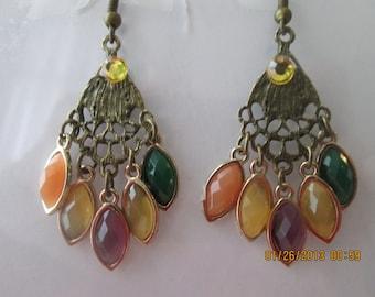Bronze Tone Chandelier Earrings with Multi Color Teardrop Bead Dangles
