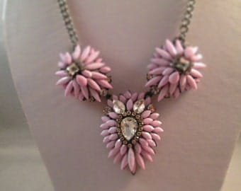 Bib Necklace with Lavender Petals and Clear Rhinestone and Crystal Pendants on a Gray Tone Chain