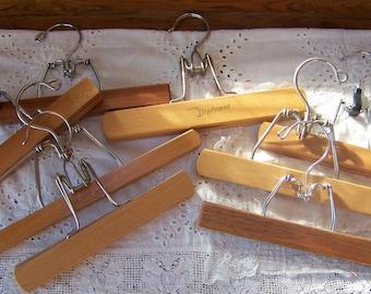 Vintage Wooden Hangers(lot of 8)Wood and Metal Hangers.Wooden Pant Hangers.Wood Skirt Hangers.Closet Organization.Art Hanger.Photo Holder.