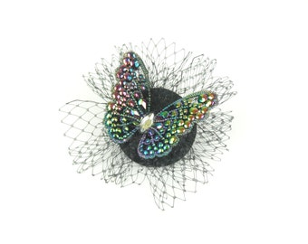 Fascinator Headpiece, Hair Accessory with Diamond Crystals Multi Coloured Butterfly and Veil, Cocktail Hat, Evening Fascinator