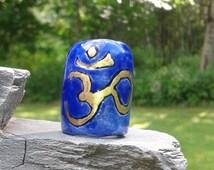 Large Hole Dreadlock Bead, Gold OHM Dread Bead, Hair Accessories, Cobalt Blue Bead,  Macrame Bead, Ceramic Pottery, Handmade Clay Beads