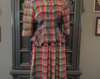 40s Summer Plaid Peplum Waist Suit Dress