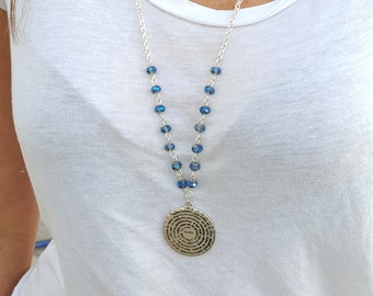 Long Silver Plated and Crystals Beads Necklace With Padre Nuestro (Lord) Pray