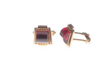 Retro Vintage Red Glass Cufflinks Gold Tone Unusual