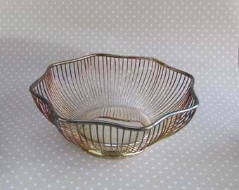 Vintage Retro Viners Silver Plated Octagonal Wire Fruit Bowl Basket Sheffield England