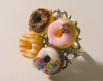 Food Jewelry Donuts Ring, Glazed Donuts, Doughnuts Ring, Miniature Food Jewellery, Mini Food Ring Donut Jewelry Donut Charm Miniature Donuts