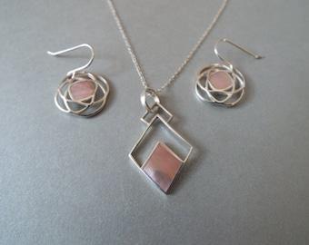 sterling silver pink mother of pearl  geometric pendant earrings set pink mussel