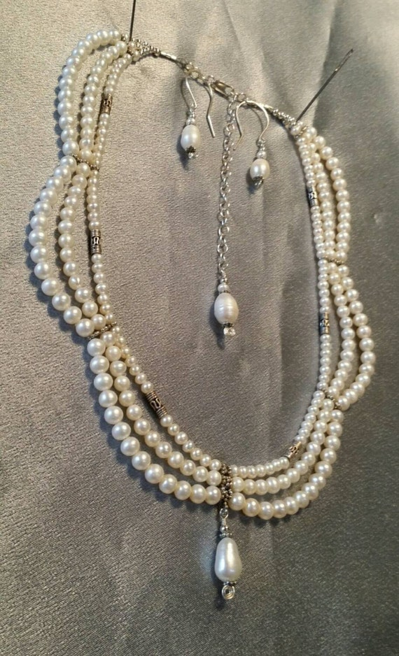 "Pearl necklace, earrings, sterling silver, white cultured pearls, set, adjustable 16"" - 20"", elegant triple strand  (#1190)"