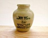 Antique J. A. Sharwood & Co Green Label Curry Paste Stoneware Pot, Vintage Earthenware Jar