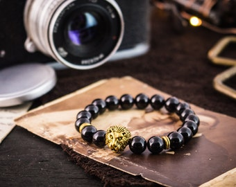 8mm - Black onyx beaded gold Lion stretchy bracelet, black bracelet, made to order yoga bracelet, mens bracelet, womens bracelet