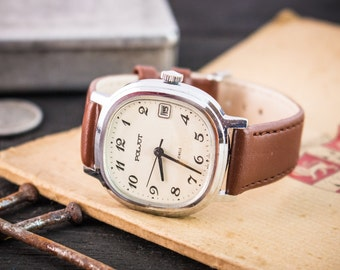 Mens watch, Vintage Poljot mens watch with date window, vintage mens watch, soviet watch, retro watch, mechanical russian watch ussr cccp