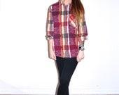 90's Baja Aztec Plaid Tribal Print Flannel Button Up Down Shirt // Women's Medium M