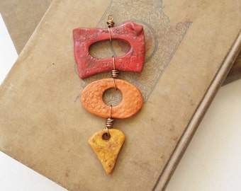 Geometric Polymer Clay Pendant - Handmade Red Orange Yellow Stacked Necklace Bead Set - Long Copper Wire Pendant  - The Bead Hutch