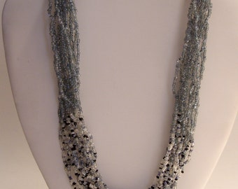 Blue Seed Bead Multi Strand 34 Inch Long Necklace