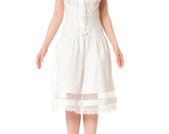 Victorian White Cotton and Lace Drop Waist Summer Dress SIZE: XS/S, 2-4