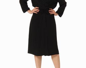1930s Black Beaded Long Sleeve Dress SIZE: S, 4