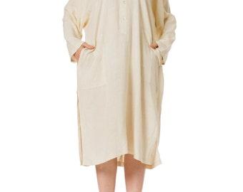 1970s Minimalist Issey Miyake Linen Caftan Shirt SIZE: L, 10/12