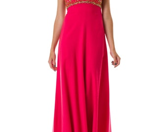 1950s Bright Pink Beaded Gown Size: XS