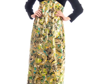 1960s Velvet And Floral Print Lame Empire Waist Maxi Dress Size: S/M