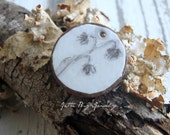 Twigs- art resin pendant original painting. dried flowers twigs. small coconut bezel. rustic flower bead. jewelry finding. Jettabugjewelry