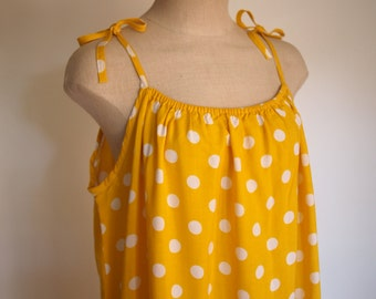 80s yellow with white polka dots maxi dress tie straps and ruffle trim