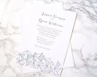 FLAT SAMPLE | Watercolor Wedding invitation | Geometric Wedding Invitation | Casual Wedding Invitation | Painted Wedding Invitation | Modern