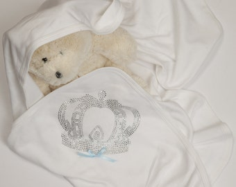 Baby Boy White Blanket White Receiving Blanket with Royal Crown