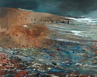 Millionaire's row Beach, oil on canvas Giclée print