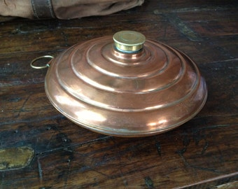 Antique English Rustic Copper Brass Large Bed Warmer Farmhouse English Country Primitive Decor