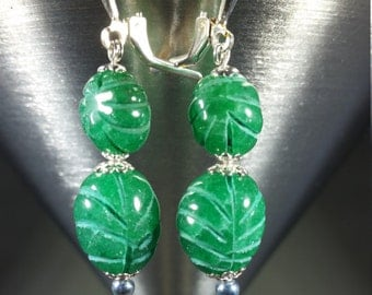 Emerald and Sterling Silver Earrings