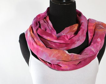 """Ice Dyed Tie Dyed Rayon Circular  Infinity Scarf, Sunset Shades Of Pink, Purple,  And Orange, 77"""" around by 21"""" wide, Made To Order"""
