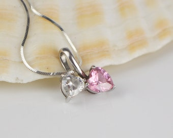 Sterling Silver Two Heart Drop Clear and Pink CZ Cut Faceted Stones Pendant on 925 Silver Chain Necklace
