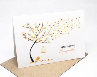 Sympathy Card  - With Deepest Sympathy - Bereavement Card - Orange Fall Autumn Tree - WDS017