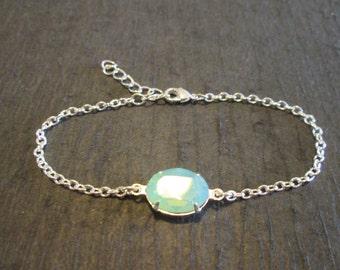 NEW Pacific Opal Swarovski Crystal Bracelet/Bridesmaid Bracelet/Swarovski Bracelet/Opal Bridesmaid Jewelry/Green Opal Swarovski Bracelet