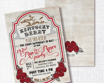 KENTUCKY DERBY rustic wood horse racing party invitation run for the roses horse race gala invite