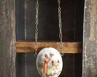 Art Deco Porcelain Limoge Pendant Paper Clip Chain Necklace