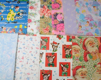 Mid Century Gift Wrap Sampler Assorted Occasions LOT 6