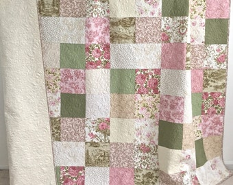 Queen Patchwork Quilt with Floral Fabrics Shades of Pink Green Tan Ivory Pristine Collection by Robert Kaufman